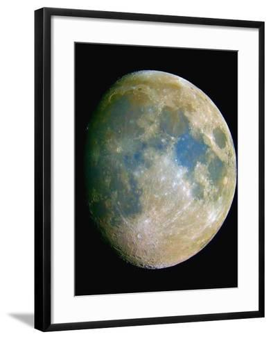 The Waxing Moon. the Blue Areas are Indicative of Titanium-Rich Minerals-Guillermo Gonzalez-Framed Art Print
