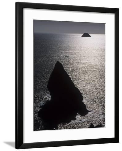Seastacks and Shimmering Sea, Trinidad State Beach, California, USA-Adam Jones-Framed Art Print