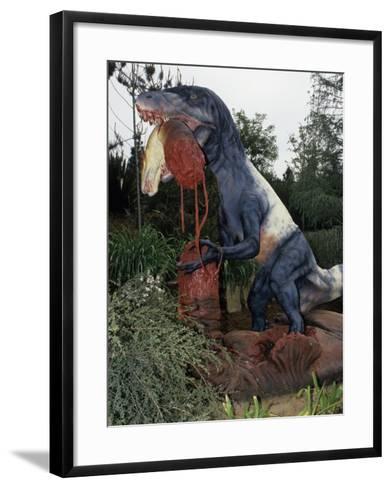 Restoration of Utahraptor, Early Cretaceous, 125 M.Y.A., Utah Dinosaur-Ken Lucas-Framed Art Print