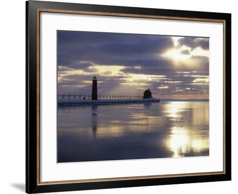 Grand Haven Lighthouse on Lake Michigan at Sunset, Grand Haven, Michigan, USA-Adam Jones-Framed Art Print