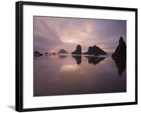 Sea Stacks Along the Oregon Coast-Sean Bagshaw-Framed Art Print