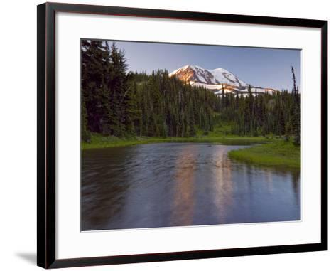 Mt. Adams Wilderness Area with a Coniferous Forest and a Tarn, Washington, USA-David Cobb-Framed Art Print