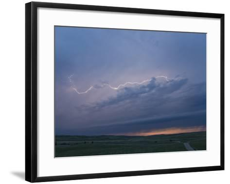 Intracloud Lightning at Sunset from a Thunderstorm in Central Nebraska, USA-Charles Doswell-Framed Art Print