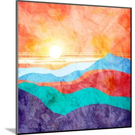 Bright Watercolor Landscape with Sunset-tanor27-Mounted Art Print