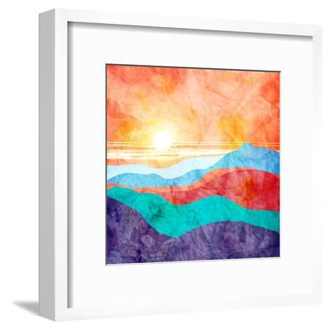 Bright Watercolor Landscape with Sunset-tanor27-Framed Art Print