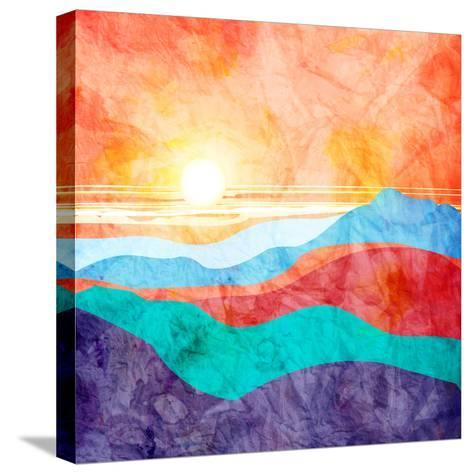 Bright Watercolor Landscape with Sunset-tanor27-Stretched Canvas Print
