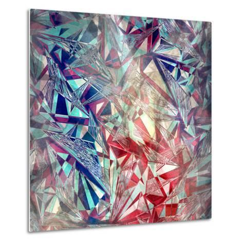 Abstract Watercolor Geometric Triangles Background-tanor27-Metal Print