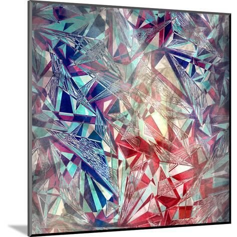 Abstract Watercolor Geometric Triangles Background-tanor27-Mounted Art Print