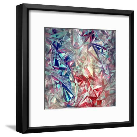 Abstract Watercolor Geometric Triangles Background-tanor27-Framed Art Print