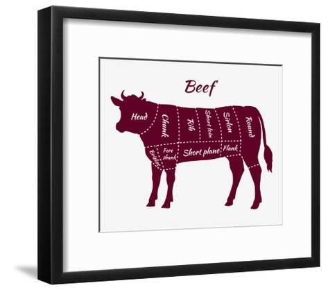 Scheme of Beef Cuts for Steak and Roast-robuart-Framed Art Print