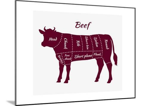 Scheme of Beef Cuts for Steak and Roast-robuart-Mounted Art Print
