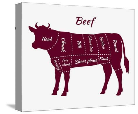 Scheme of Beef Cuts for Steak and Roast-robuart-Stretched Canvas Print