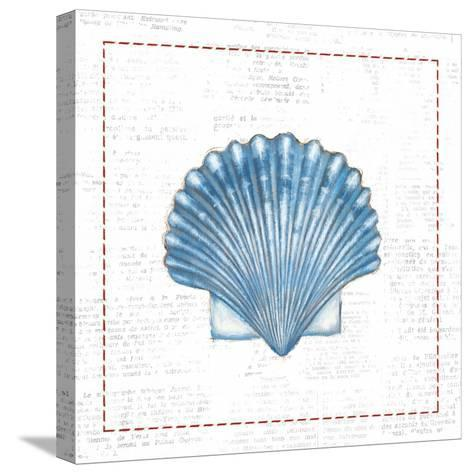 Navy Scallop Shell on Newsprint with Red-Emily Adams-Stretched Canvas Print