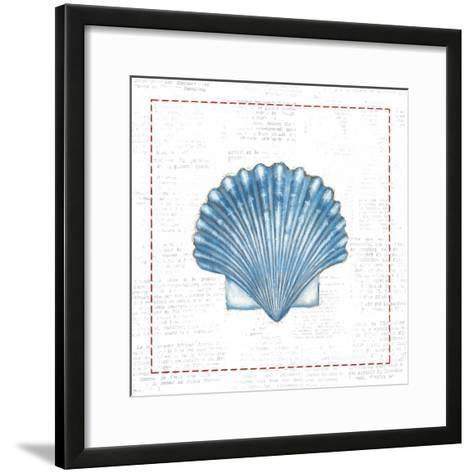 Navy Scallop Shell on Newsprint with Red-Emily Adams-Framed Art Print