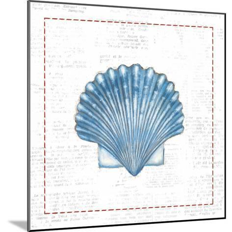 Navy Scallop Shell on Newsprint with Red-Emily Adams-Mounted Art Print