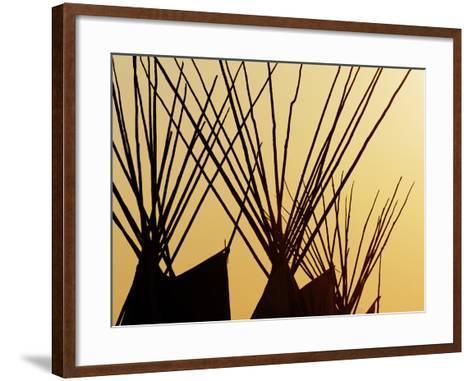 Tops of Tepees Silhouetted at Sunset, Montana-Adam Jones-Framed Art Print