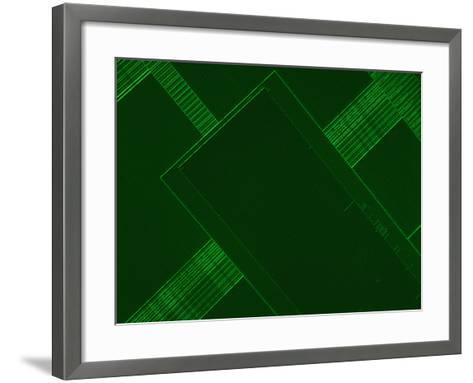 Micrograph of a Computer Microprocessor, LM X200, Epifluorecence, UV Illumination-Robert Markus-Framed Art Print