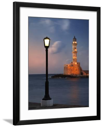 Lighthouse and Lighted Lamp Post at Dusk, Chania, Crete, Greece-Adam Jones-Framed Art Print