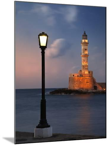 Lighthouse and Lighted Lamp Post at Dusk, Chania, Crete, Greece-Adam Jones-Mounted Photographic Print