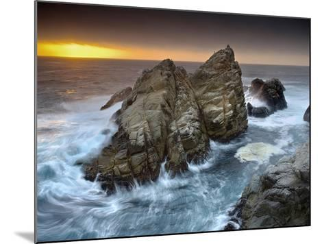 Crashing Waves Pounding and Eroding Coastal Rocks at Point Lobos at the North End of Big Sur-Patrick Smith-Mounted Photographic Print
