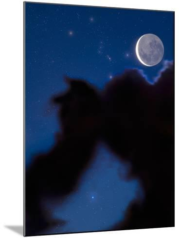 Crescent Moon in the Night Sky with Much of the Moon Illuminated by Earthshine-David Nunuk-Mounted Photographic Print