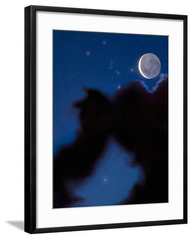 Crescent Moon in the Night Sky with Much of the Moon Illuminated by Earthshine-David Nunuk-Framed Art Print