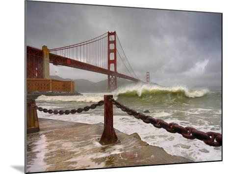 Large Storm Waves in San Francisco Bay under the Golden Gate Bridge About to Batter the Shore-Patrick Smith-Mounted Photographic Print