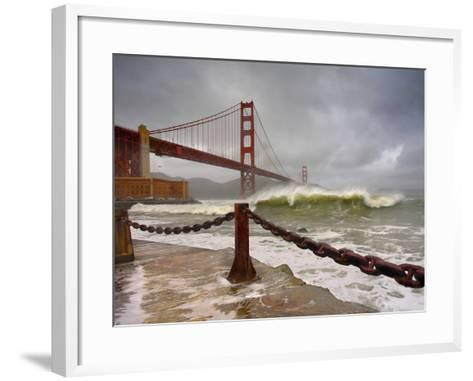 Large Storm Waves in San Francisco Bay under the Golden Gate Bridge About to Batter the Shore-Patrick Smith-Framed Art Print