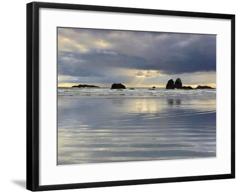 Sunbeams on Cloudy, Stormy Day Behind the Sandy Beach and Offshore Rocks-Patrick Smith-Framed Art Print