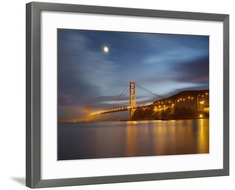 Fog and the Moon over the Golden Gate Bridge at Sunset, San Francisco, California, USA-Patrick Smith-Framed Art Print
