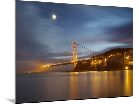 Fog and the Moon over the Golden Gate Bridge at Sunset, San Francisco, California, USA-Patrick Smith-Mounted Photographic Print
