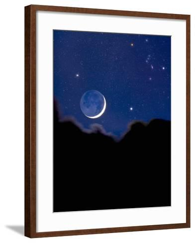 Crescent Moon with Earthshine and the Constellation Orion-David Nunuk-Framed Art Print