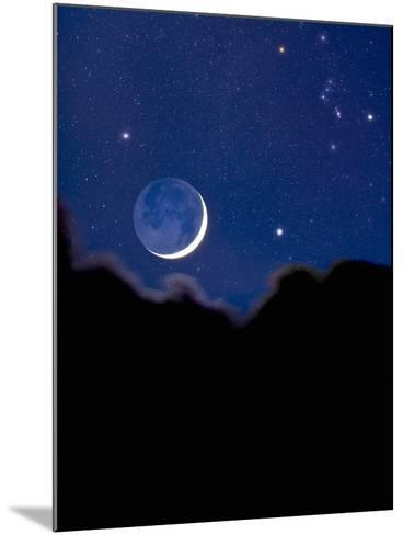 Crescent Moon with Earthshine and the Constellation Orion-David Nunuk-Mounted Photographic Print