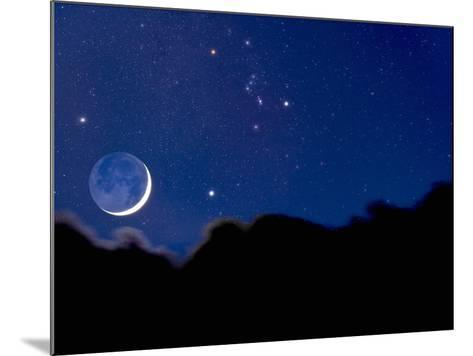 Crescent Moon with Earthshine Above a Cloud Layer with the Constellation Orion-David Nunuk-Mounted Photographic Print