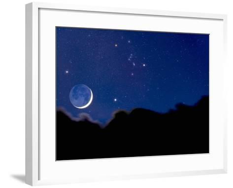 Crescent Moon with Earthshine Above a Cloud Layer with the Constellation Orion-David Nunuk-Framed Art Print