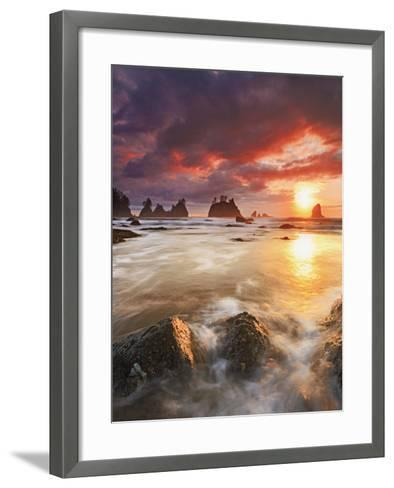 Clearing Storm and a Winter Sunset at Point of the Arches, Olympic National Park, Washington, USA-Geoffrey Schmid-Framed Art Print