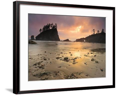 Sunset Light Through Breaks in the Clouds on Second Beach, Olympic National Park, Washington, USA-Geoffrey Schmid-Framed Art Print