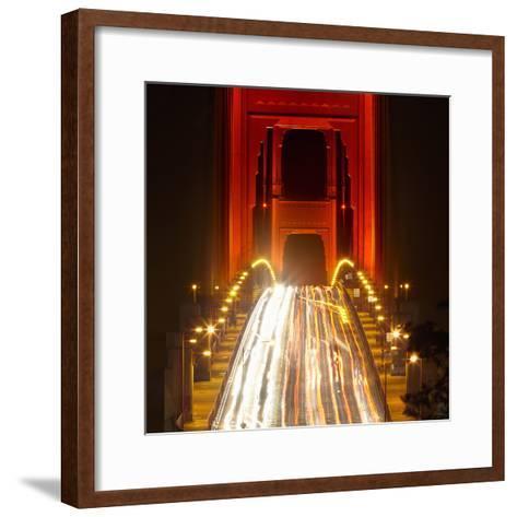 Nightime Traffic on the Golden Gate Bridge, San Francisco, California, USA-Patrick Smith-Framed Art Print