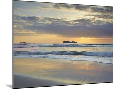 Sunset over Trinidad State Beach Near Eureka at Low Tide with Reflective Sand Patterns-Patrick Smith-Mounted Photographic Print