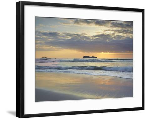 Sunset over Trinidad State Beach Near Eureka at Low Tide with Reflective Sand Patterns-Patrick Smith-Framed Art Print