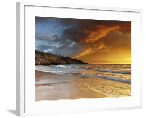 Sunset at Hapuna Beach, Big Island Volcanic Gases and Fog, Called Vog, Can Create Dramatic Sunsets-Patrick Smith-Framed Art Print