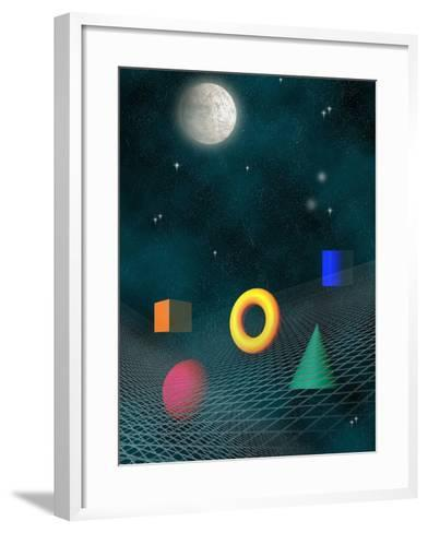 Space Background with Geometric Shapes-Carol & Mike Werner-Framed Art Print