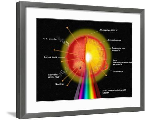 Painting of Various Features of the The Sun, with Labels-Carol & Mike Werner-Framed Art Print