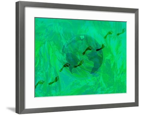 Green Earth with Carbon Footprints-Carol & Mike Werner-Framed Art Print