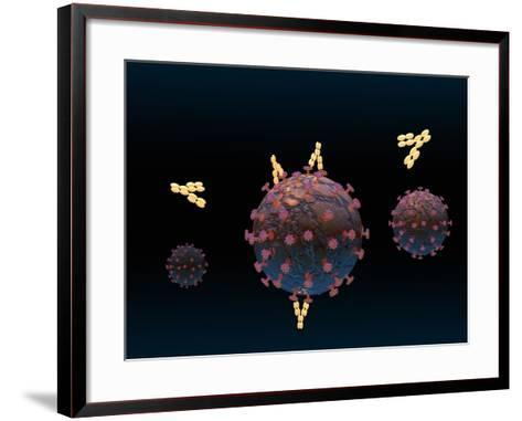 Illustration of Antibodies Surrounding a Virus and Binding to It-Carol & Mike Werner-Framed Art Print