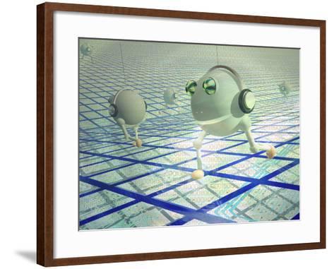 Concept of Cyberbots Carrying Digital Information on the Internet-Carol & Mike Werner-Framed Art Print