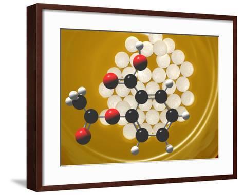 Generic Aspirin Tablets with Aspirin Molecular Model, Acetylsalicylic Acid-Carol & Mike Werner-Framed Art Print