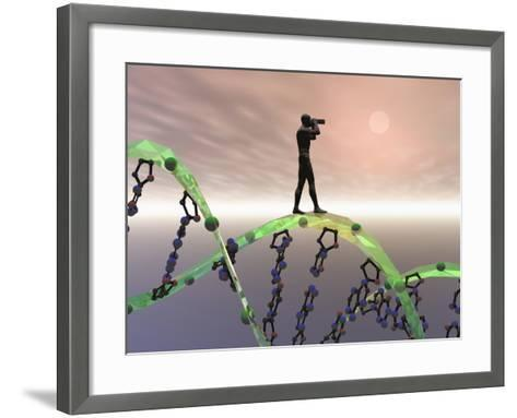 Biomedical Illustration of a Male Human Likeness Standing on a DNA Strand Peering into the Future-Carol & Mike Werner-Framed Art Print