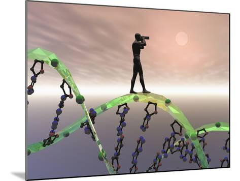 Biomedical Illustration of a Male Human Likeness Standing on a DNA Strand Peering into the Future-Carol & Mike Werner-Mounted Photographic Print