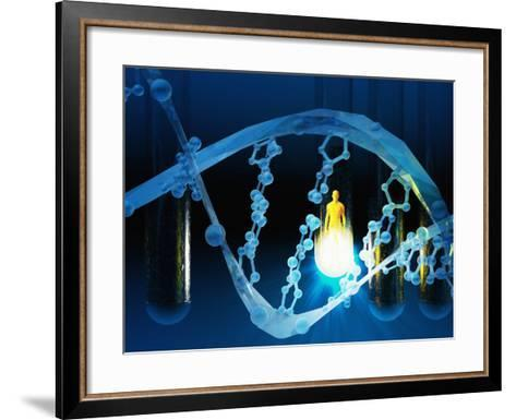 Biomedical Illustration of a Stylized DNA Molecule in Blue, Test Tubes, and a Human Likeness-Carol & Mike Werner-Framed Art Print